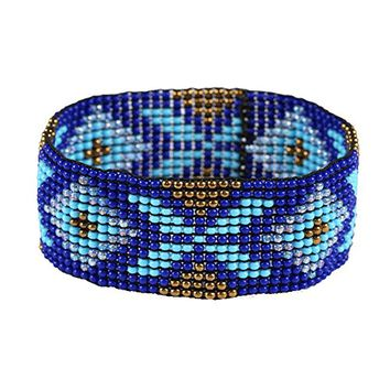 Blue Boho Beaded Loom Stretch Bracelet 349166