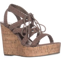 madden girl Emboss Braided Wedge Sandals, Dark Taupe, 9.5 US