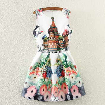 Vintage Print Slim Sleeveless Vest Dress One Piece Dress [4919355908]
