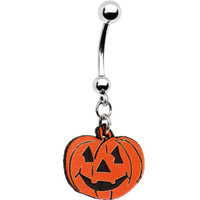 Orange Jack-o-lantern Pumpkin Belly Ring | Body Candy Body Jewelry
