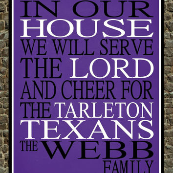 Customized Name Tarleton Texans NCAA Basketball personalized family print poster Christian gift sports wall art - multiple sizes