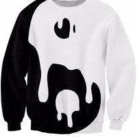 Fashion Clothing  Tops Big Drippy Yin Yang Sweatshirt Women Men Black White Jumper Style Pullover