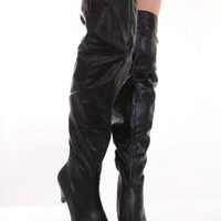 Black Faux Leather Slouchy Thigh High Heel Boots