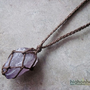 Amethyst Raw Crystal Hemp Necklace