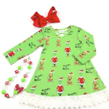 RTS Green Grinchy Naughty or Nice Dress D22