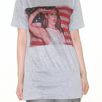 Lana Del Rey Grey Short Sleeve Shirt Singer Rock Indie T-Shirt Size M
