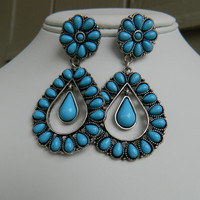 Turquoise Metal Earrings