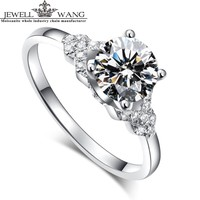 JEWELLWANG 18K Real White Gold Ring Moissanites Engagement Rings For Women Brand 1.0ct Certified Original Goddess Carat Flower