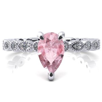 Lizette Pear Pink Sapphire 3 Claw Prong 3/4 Eternity Milgrain Diamond Shank Engagement Ring