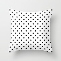 Cool, modern, trendy black and white polka dots pattern. graphic design. Throw Pillow by PatternWorld