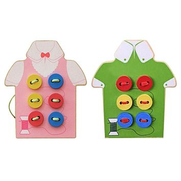 Montessori Kids Educational Toys Children Beads Lacing Board Wooden Toys Sew On Button Early Education Teaching Aids Puzzles