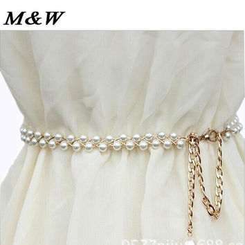 White Crystal Rhinestone Pearl Wedding Bridal Dress Belt Cummerbunds Waistband Girdle Accessories Women Belts