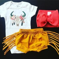 Newborn Baby Girls Deer Tops Romper Tassels Pants Shorts 2pcs Outfit Clothes Set