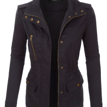 LE3NO Womens Lightweight Stand Collar Utility Safari Military Jacket