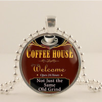 "Coffee house, 1"" glass and metal Pendant necklace Jewelry."