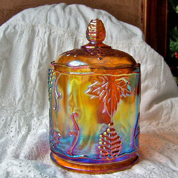 Vintage Carnival Glass Candy Jar Original Box Harvest Gold Kitchen Canister Grape Cluster Jar with Lid Wedding Gift Bridal Shower