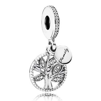 925 Sterling Silver Bead Charm Family Heritage Tree Of Life With Crystal Pendant Beads