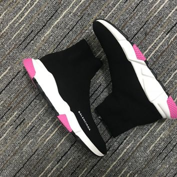 Balenciaga Speed In Black Knit And White/pink Sole Unit Trainers - Best Online Sale