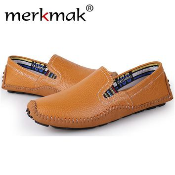 Merkmak 2017 Men's Shoes Fashion Genuine Leather  Driving Casual Loafers Moccasins Men Breathable Flats Shoes Zapatos Hombres