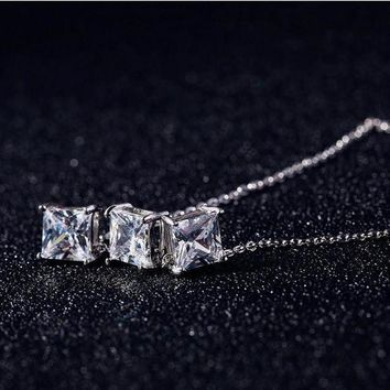 ICIKHY9 Korea 925 Silver Cubic Zirconia Necklaces 925 Sterling Silver Necklaces&Pendants Jewelry Collar Colar Free Shipping D00066