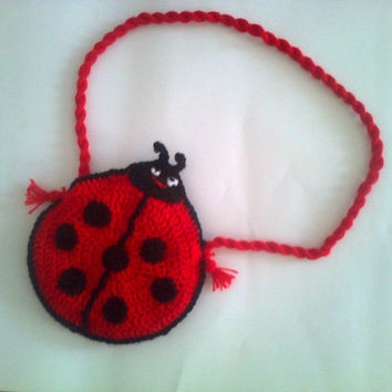 Crocheted  Ladybug Purse Bag for Girl Toddler