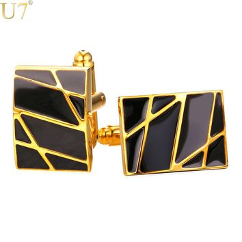 U7 New Square Cufflinks Black For Mens Enamel Fashion Jewelry Gold Color Men Suit Gold Stripes Cufflinks Box C019