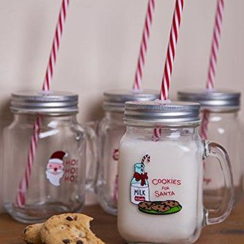 Set of 4  15oz Holiday Mason Jar Beverage Cups 6 Clear Glass Drink Cups with Metal Lid Straw Included