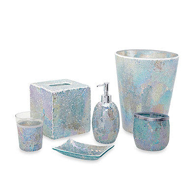 India ink aurora pastel cracked glass from bed bath for Full bathroom accessories set