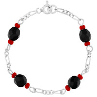 Silver Plated Red Black Good Luck Protection Simulated Azabache Baby Bracelet 5""