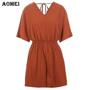 New Orange Color Playsuits Short Sleeve V Neck Girls Casual Fashion Overalls Black Color with Pocket Rompers Jumpsuits