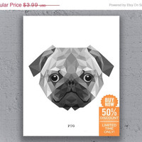 Pug Print Printable Poster Geometric Print Typography Black White Polygon Dog Animal Art Retro Art Print Instant Download Digital Print