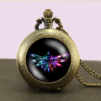 Zelda Hyrule Crest Locket necklace,Legend of Zelda Necklace,Glass Pocket Watch Necklace