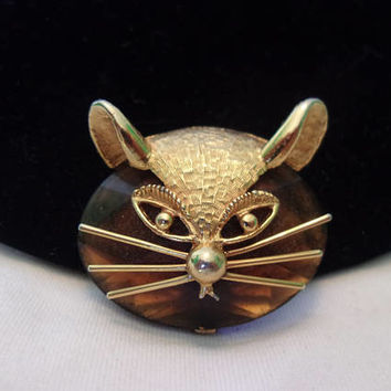 BSK Cat Kitten Brooch Amber Glass Cabochon Gold Plate Vintage Pin