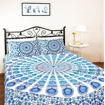 Varuna, Queen Size Bohemian Mandala Bedspread Wall Hanging Throw Hippie Tapestry