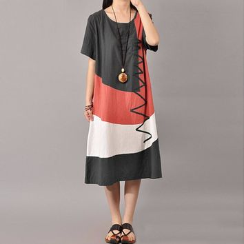 Women Cotton Vintage Dress Contrast O Neck Short Sleeves Splice Mid-Calf Length Casual Loose Dress Dark Grey/Watermelon Red