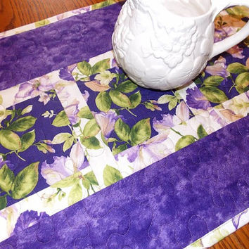 Purple Iris Floral Table Runner Quilt