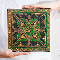 Green celtic hand painted mandala, Canvas wall art, Celtic knot, Home decor