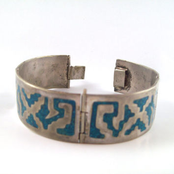 Vintage Turquoise & Silver Bracelet; Mexican Marked In-layed Panel Cuff; Valentine's Day Gift for Men or Women