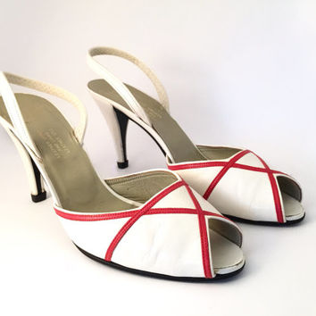CHRISTIAN DIOR!!! Vintage 1980s 'Christian Dior' white leather peep toe sling-backs with red criss cross design / Made in France