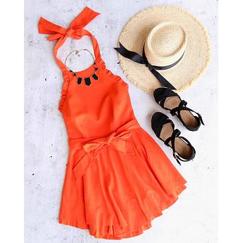 open back halter linen flare mini dress in tangerine