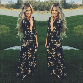 Floral O-neck Long Sleeve Long Dress