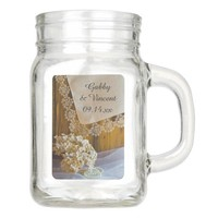 Country Lace and Flowers Barn Wedding Favor Mason Jar