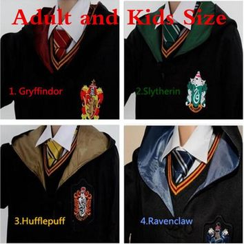 Cool Halloween Party Adult Kids Potter Robe Cloak with Tie  Ravenclaw Gryffindor Hufflepuff Slytherin for Harris Cosplay CostumeAT_93_12