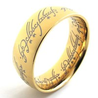 KONOV Jewelry Mens Stainless Steel Ring - The Lord Of the Rings - Gold (Available in Sizes 7 - 13) | AihaZone Store