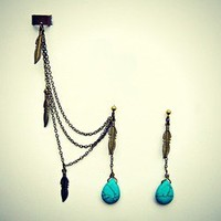 alapop — turquoise and feathers tribal ear cuff earrings