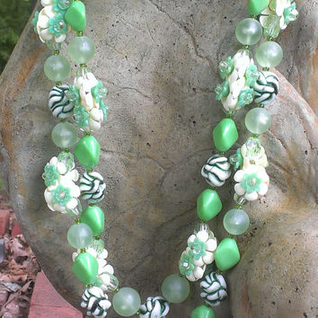 1960's Multistrand Celluloid Lucite Ornate Necklace with Box Clasp Green White Mad Men Mod Summertime Unique Gift Womens Fashion Jewelry