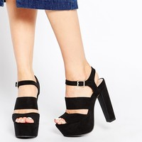 New Look Double Strap Platform Heeled Sandals