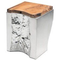 ZUO Modern Luxe Side Table Natural&Ss 100527 Living Coffee Table