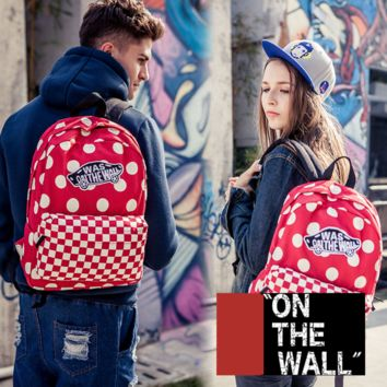 """Vans""Fashion Personality printing large capacity backpack bag leisure travel boom Red square wave point(8 style)"
