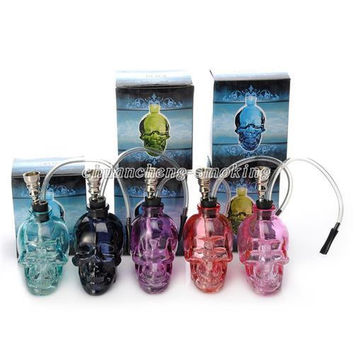 6 Colors Skull Head Glass Bong Popular Glass Hookah Pipe Durable Mini Shisha Tobacco Smoking  Water Pipe Unique